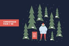 Merry Christmas. Festive illustration with an evening Christmas market and a seller of Christmas trees under the snowfall. royalty free illustration
