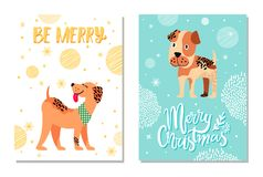 Merry Christmas Festive Postcards with Cute Dogs. Merry Christmas festive postcards with snowflakes and weimaraner and boxer dogs as symbols of 2018 year Royalty Free Stock Photography