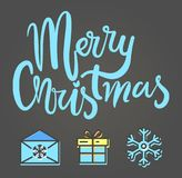 Merry Christmas Festive Poster Vector Illustration. Merry Christmas festive poster with wintertime icons on gray background. Vector illustration with box Royalty Free Stock Photography