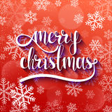 Merry Christmas. Festive red background with calligraphic greeting voluminous text. And purple reflex. Snowflakes and blur effect. Volume handwritten letters Stock Photo