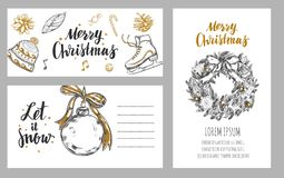 Merry Christmas festive Winter cards . Design template Stock Photography