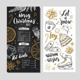 Merry Christmas festive Winter Menu on Chalkboard. Design template includes different Vector hand drawn illustrations and Brushpen. Modern Calligraphy Stock Photography