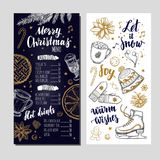 Merry Christmas festive Winter Menu on Chalkboard and Invitation card. Design template includes different Vector hand drawn. Merry Christmas festive Winter Menu Royalty Free Stock Image
