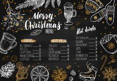 Merry Christmas festive Winter Menu. Design template includes different Vector hand drawn illustrations and Brushpen Modern. Calligraphy Royalty Free Stock Photo