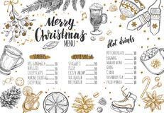 Merry Christmas festive Winter Menu. Design template includes different Vector hand drawn illustrations and Brushpen Modern Callig. Raphy. Beverages, food and Stock Photo