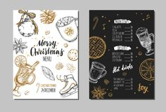 Merry Christmas festive Winter Menu. Design template Royalty Free Stock Image