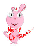 Merry Christmas. Fictional animal and text Merry Christmas. Vector illustration Stock Image