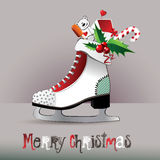 Merry Christmas  figure skates. Gift Royalty Free Stock Images