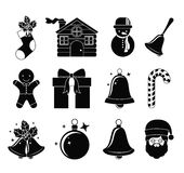 Merry Christmas figures design. Merry Christmas decoration figures silhouette icon set. Black and white design. Vector illustration Royalty Free Stock Photos