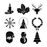 Merry Christmas figures design. Merry Christmas decoration figures silhouette icon set. Black and white design. Vector illustration Stock Photography