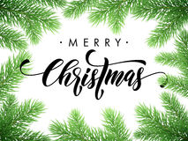 Merry Christmas fir pine branch frame card, poster. Merry Christmas greeting card, poster template of pine and fir christmas tree branches border frame template Stock Photo