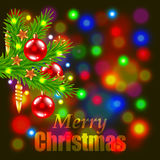 Merry Christmas and fir-tree branch. Merry Christmas on colorful background with fir-tree branch realistic vector Royalty Free Stock Photos