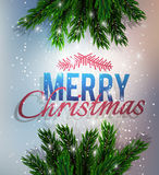 Merry Christmas. A fir-tree branch on it is violet  blue background, with the shining stars.  and New Year greeting card Royalty Free Stock Image