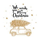 Merry Christmas fir tree by car. Christmas card greeting vector illustration Stock Photos