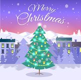 Merry Christmas and Fir Tree on City Background. Christmas tree decorated by bright festoon, snowflake, candy canes and bells. Vector illustration of white Stock Photo