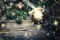 Merry Christmas fir tree with decoration on dark wooden board cl Stock Photos