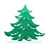 Merry Christmas fir-tree  flat illustration new year.  Stock Photos