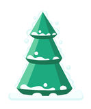 Merry Christmas fir-tree  flat illustration new year.  Royalty Free Stock Photo