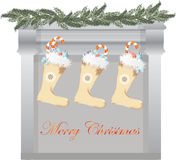 Merry Christmas fireplace. And gifts socks. Vector Royalty Free Stock Photo