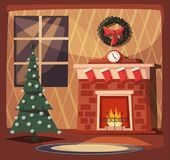Merry Christmas. Fireplace and tree with decorations. Cartoon vector illustration. Vintage style. Greeting card. Cozy interior Royalty Free Stock Image