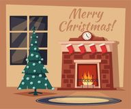 Merry Christmas. Fireplace and tree with decorations. Cartoon vector illustration. Vintage style. Greeting card. Cozy interior Stock Photography