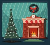 Merry Christmas. Fireplace and tree with decorations. Cartoon vector illustration. Vintage style. Greeting card. Cozy interior Stock Image