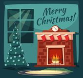Merry Christmas. Fireplace and tree with decorations. Cartoon vector illustration. Vintage style. Greeting card. Cozy interior Royalty Free Stock Photo