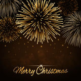 Merry Christmas firework background. Merry Christmas background. Gold abstract firework for card, greeting, Xmas celebrate banner, Light, glow, sparkle, glitter Stock Photo