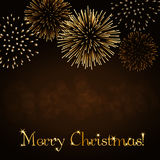 Merry Christmas firework background. Merry Christmas background. Gold abstract firework for card, greeting, Xmas celebrate banner, Light, glow, sparkle, glitter Royalty Free Stock Photography