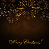 Merry Christmas firework background. Merry Christmas background. Gold abstract firework for card, greeting, Xmas celebrate banner, Light, glow, sparkle, glitter Stock Photos