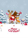 Merry Christmas fireworks. Christmas Party fireworks in the winter forest. Party with the participation of Santa Claus and funny cartoon forest animals: elk Royalty Free Stock Photo
