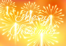 Merry Christmas fireworks. Vector illustration. Beautiful design Stock Photo