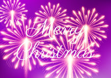 Merry Christmas fireworks. Vector illustration. Beautiful design Stock Images