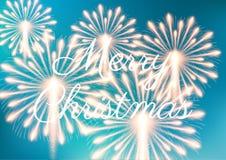Merry Christmas fireworks. Vector illustration. Beautiful design Royalty Free Stock Photo