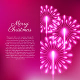 Merry Christmas fireworks. Vector illustration. Beautiful design Royalty Free Stock Photography