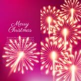 Merry Christmas fireworks. Vector illustration. Beautiful design Stock Image