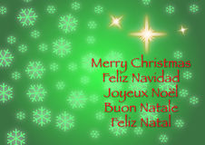 Merry Christmas Five Languages Royalty Free Stock Image
