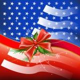 Merry Christmas with Flag USA Stock Photo