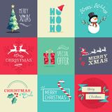Merry Christmas flat elements illustration set Stock Photography