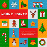 Merry Christmas Flat Icons with Shadow. Vector Illustration. Candy Can, Gingerbread Man, Reindeer. Place for your Text. Season Greetings Holiday Template. App royalty free illustration