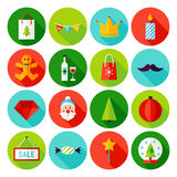 Merry Christmas Flat Icons. Vector Illustration with Long Shadow. Winter Holiday. Collection of Circle Symbols Stock Illustration