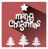 Red Christmas greeting card with star and trees. Merry Christmas flat lettering design greetings card. Long Shadow on purple warm background, christmas trees on Stock Photo