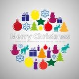 Merry Christmas flat line simple set in circle shape, christmas. Tree, present gift, reindeer, candle, snowman, bulb, christmas ball, santa beard, snow star Stock Photos
