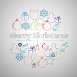 Merry Christmas flat line simple set in circle shape, christmas vector illustration