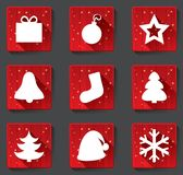 Merry Christmas flat paper icons with shadows. Royalty Free Stock Photos