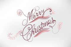 Merry Christmas floral card stylized words stock image