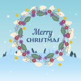 Merry Christmas Floral frame box flat design template Royalty Free Stock Photos