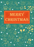 Merry Christmas. Floral greeting card. Green background, yellow flowers with drawing effect, white hearts. Red banner with text Stock Photography