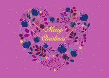 Merry Christmas. Floral heart with collar royalty free stock image