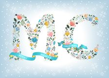 Merry Christmas. Floral Letters with Blue Ribbons. Merry Christmas. Floral letters - M and C. Blue ribbons with golden back and white texts. Graceful watercolor Royalty Free Stock Photo